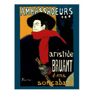 Vintage Art Nouveau Aristide Bruant Ambassadeurs Post Card