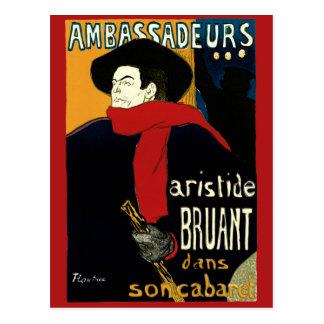 Vintage Art Nouveau Aristide Bruant Ambassadeurs Postcard
