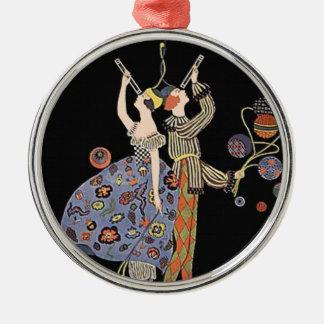 Vintage Art Nouveau Art Deco Holiday Party Round Metal Christmas Ornament