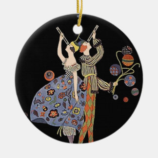 Vintage Art Nouveau Art Deco Holiday Party Double-Sided Ceramic Round Christmas Ornament