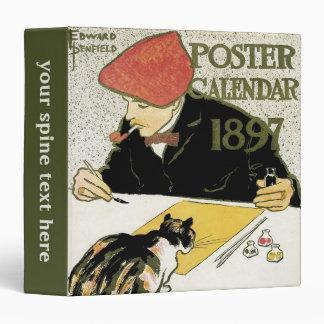 Vintage Art Nouveau, Artist Painting with Pet Cat Binder