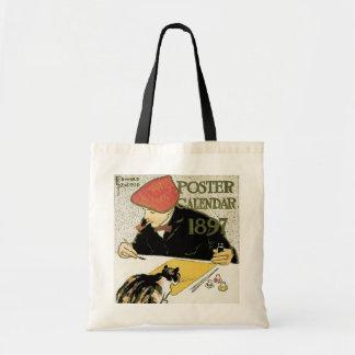 Vintage Art Nouveau, Artist Painting with Pet Cat Budget Tote Bag