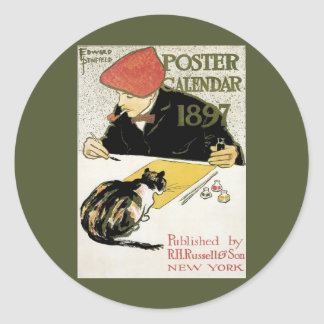 Vintage Art Nouveau, Artist Painting with Pet Cat Classic Round Sticker