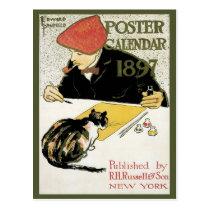 Vintage Art Nouveau, Artist Painting with Pet Cat Postcard