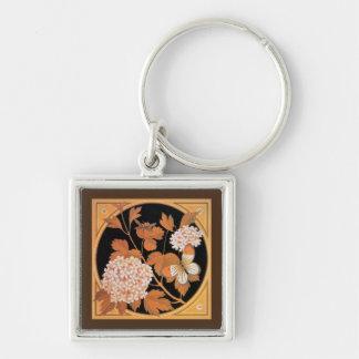 Vintage art nouveau autumn leaves keychain