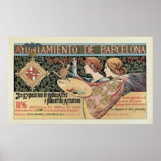 Vintage art nouveau barcelona horizontal banner poster - Mobles vintage barcelona ...