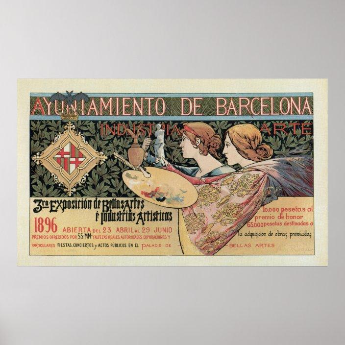 Vintage Art Nouveau Barcelona Horizontal Banner Poster Zazzle Com