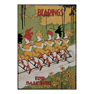 Vintage Art Nouveau, Bearings, Women on a Bicycle Poster