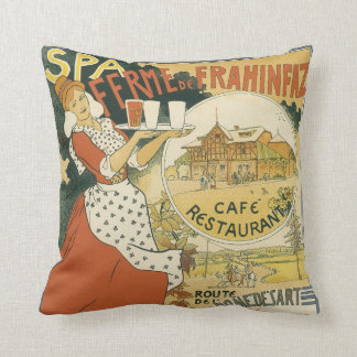 Vintage Art Nouveau, Beer Bar Cafe and Restaurant Throw Pillow