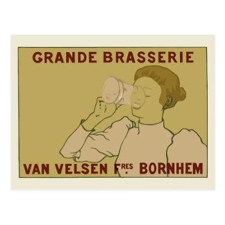 Vintage Art Nouveau Belgian Beer ad Post Card