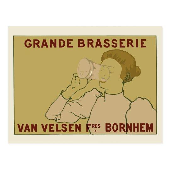 Vintage Art Nouveau Belgian Beer ad Postcard