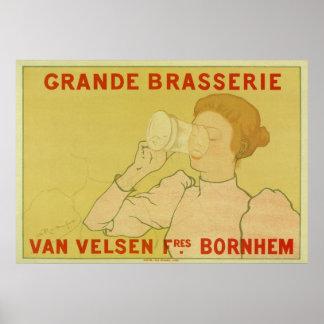Vintage Art Nouveau Belgium Beer ad Print