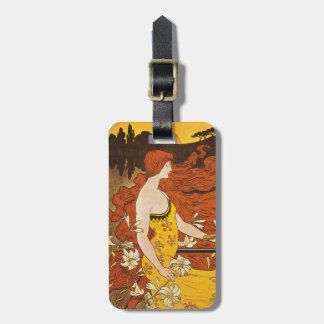 Vintage Art Nouveau Bicycle Woman Luggage Tag