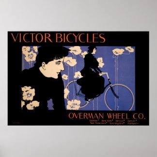 vintage Art Nouveau bicycles ad Print
