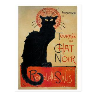 Vintage Art Nouveau Black Cat Postcard