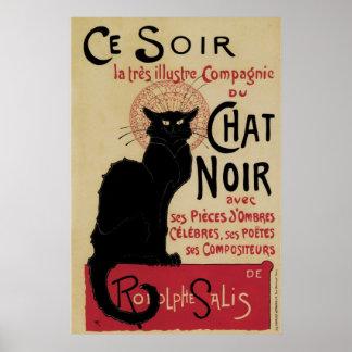 Vintage art nouveau black cat poster