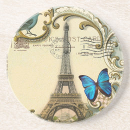 vintage art nouveau blue swirls paris eiffel tower coaster