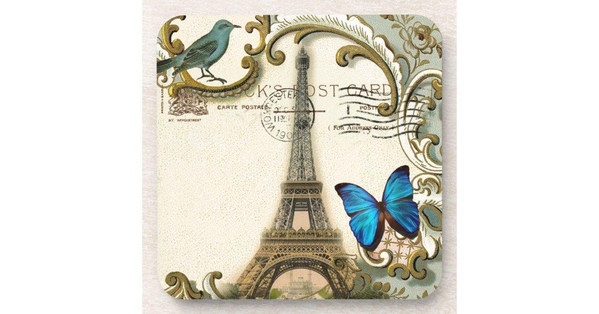 Vintage Art Nouveau Blue Swirls Paris Eiffel Tower Drink Coaster Zazzle Com