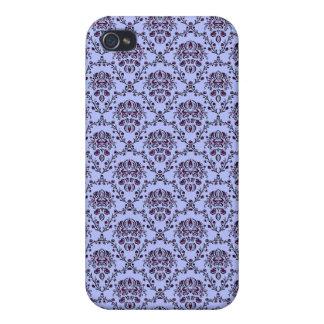 vintage Art Nouveau blue wallpaper floral pattern iPhone 4 Covers