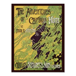Vintage Art Nouveau Book, Captain Horn Adventures Card