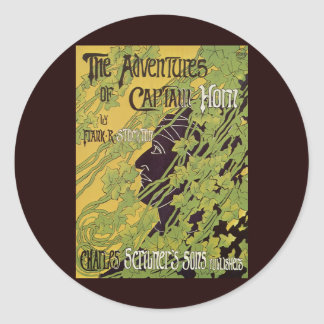 Vintage Art Nouveau Book, Captain Horn Adventures Classic Round Sticker