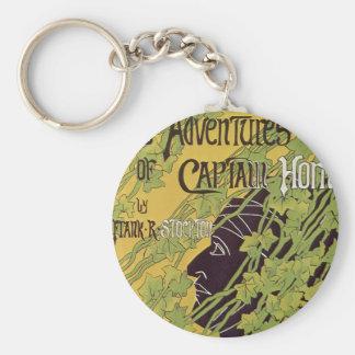 Vintage Art Nouveau Book, Captain Horn Adventures Keychain