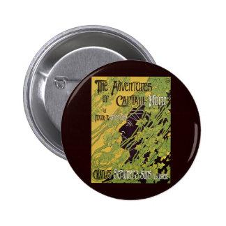 Vintage Art Nouveau Book, Captain Horn Adventures Pinback Button
