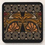Vintage art nouveau brown dragons coaster
