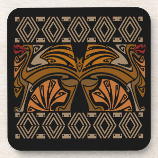 Vintage art nouveau brown dragons coaster