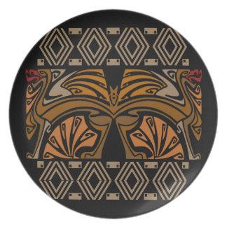 Vintage art nouveau brown dragons dinner plates