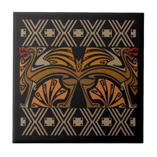 Vintage art nouveau brown dragons tiles