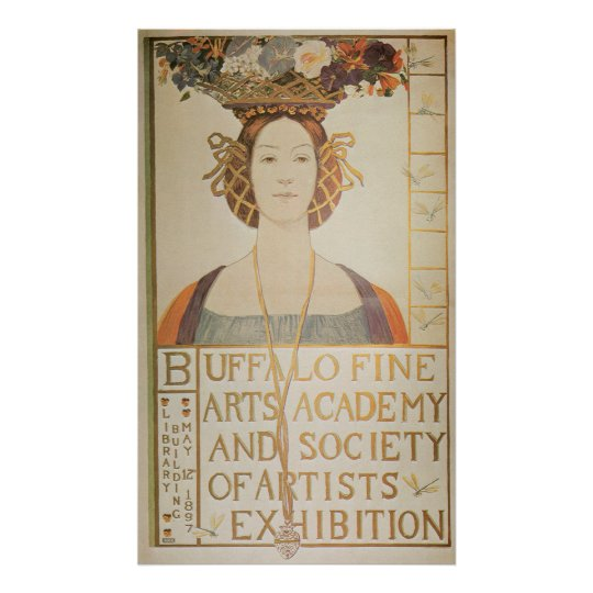 Vintage Art Nouveau Buffalo Ny Exhibition Ad Poster
