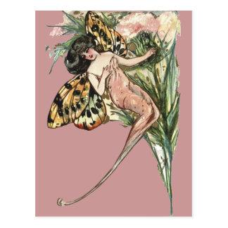 Vintage Art Nouveau Butterfly Fairy Postcard