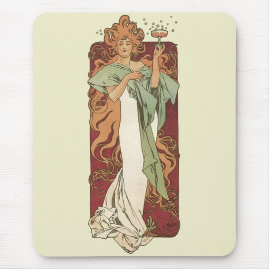 Vintage Art Nouveau by Mucha, Champagne Party Mouse Pad