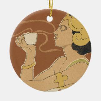 Vintage Art Nouveau Cafe Rajah, Lady Drinking Tea Ceramic Ornament