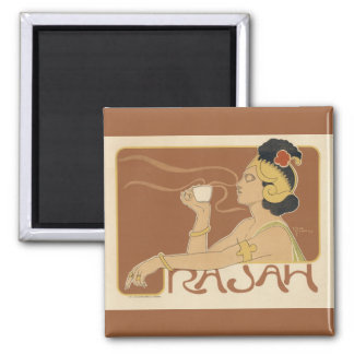 Vintage Art Nouveau Cafe Rajah, Lady Drinking Tea Magnet