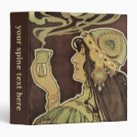Vintage Art Nouveau Cafe Rajah, Woman Drinking Tea 3 Ring Binders