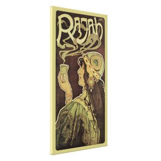 Vintage Art Nouveau Cafe Rajah, Woman Drinking Tea Canvas Print