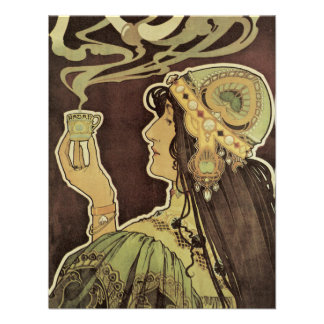 Vintage Art Nouveau Cafe Rajah, Woman Drinking Tea Invitations