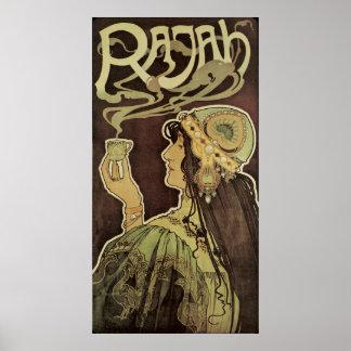 Vintage Art Nouveau Cafe Rajah, Woman Drinking Tea Poster