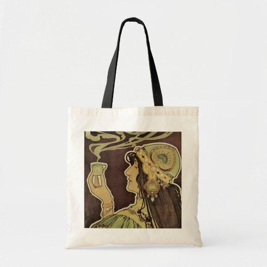 Vintage Art Nouveau Cafe Rajah, Woman Drinking Tea Tote Bag