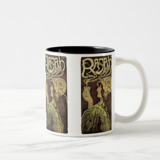 Vintage Art Nouveau Cafe Rajah, Woman Drinking Tea Two-Tone Coffee Mug