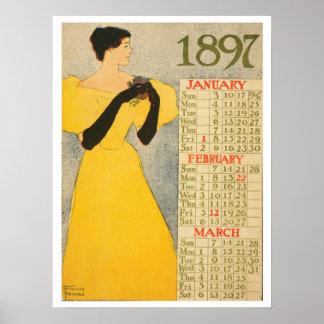 Vintage art nouveau calendar poster