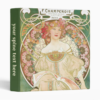 Vintage Art Nouveau, Champenois by Alphonse Mucha 3 Ring Binder