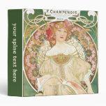 Vintage Art Nouveau, Champenois by Alphonse Mucha 3 Ring Binder