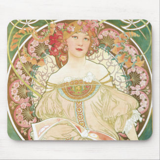 Vintage Art Nouveau, Champenois by Alphonse Mucha Mousepads