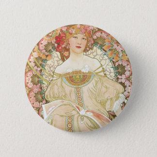 Vintage Art Nouveau, Champenois by Alphonse Mucha Pinback Button