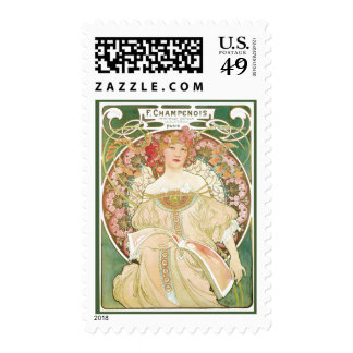 Vintage Art Nouveau, Champenois by Alphonse Mucha Postage