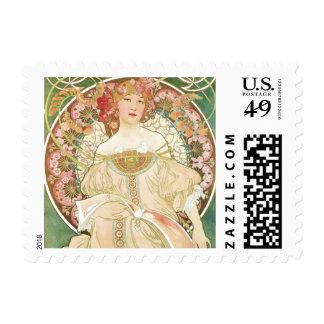 Vintage Art Nouveau, Champenois by Alphonse Mucha Postage Stamp