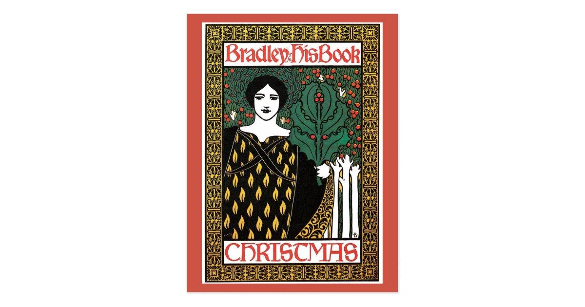 Vintage Book Cover Postcards : Vintage art nouveau christmas book cover postcard zazzle